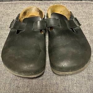 Classic Black leather Birkenstock clogs